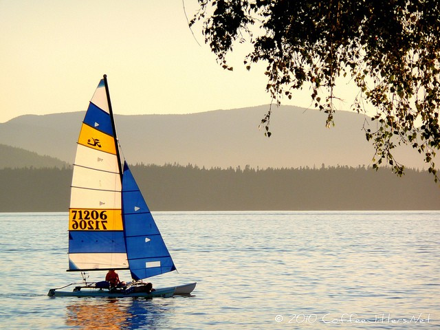 sailboat at sunset on Bellingham Bay