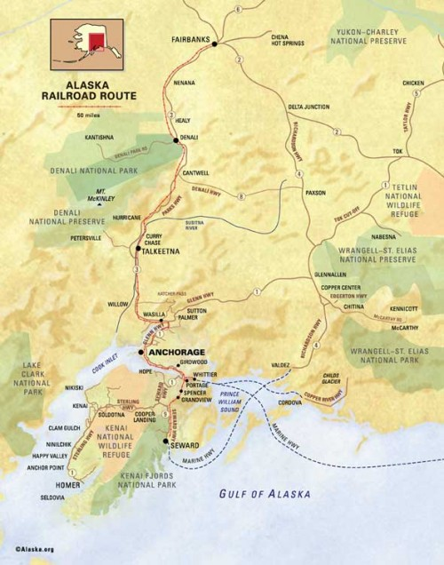 Alaska Railroad Map - Seward to Fairbanks