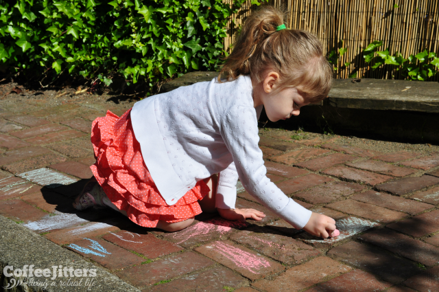 Monday Morning - playing with sidewalk chalk