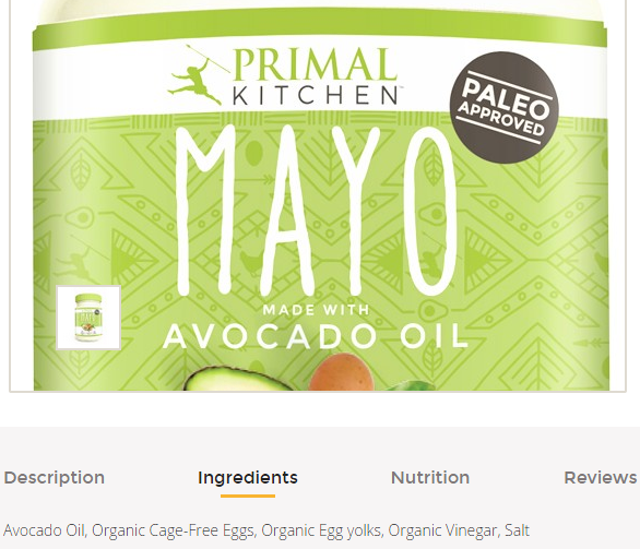 avacado oil mayo at thrive market